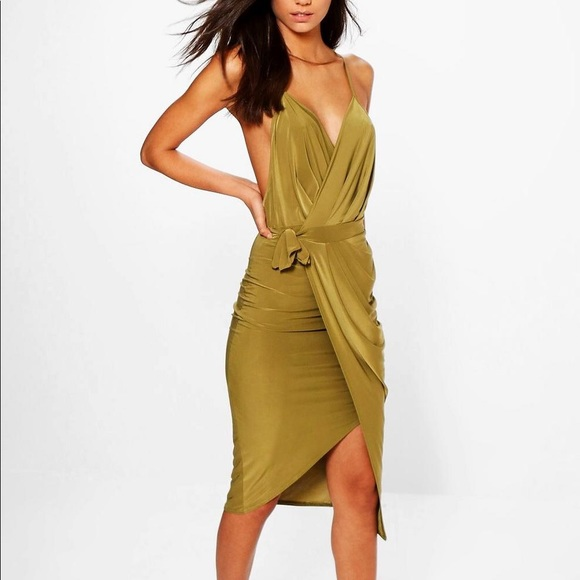 abef5b6c0668 Boohoo Dresses | Olive Green Plunge Slinky Wrap Midi Dress | Poshmark